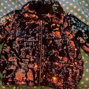 Kayllee Kollection Sequin Puffer Coat